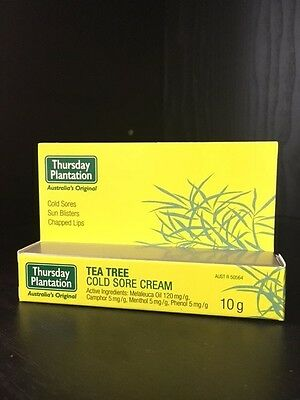 6 x 10g Thursday Plantation Tea Tree Cold Sore Cream Sun Blistered Chapped Lips
