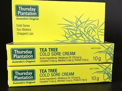 2 x 10g Thursday Plantation Tea Tree Cold Sore Cream Sun Blistered Chapped Lips