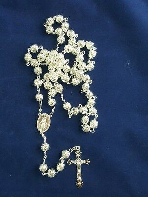 Silver Rosary Beads Necklace with Crucifix