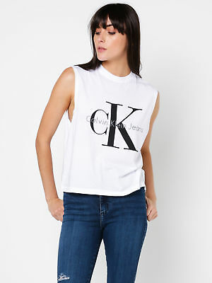 New Ck Jeans Ck Muscle Tank In White Womens Singlets & Camisole's