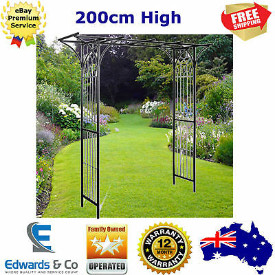 Metal Garden Arch Black Climbing Outdoor Decor Feature 200cm High Archway Arbor