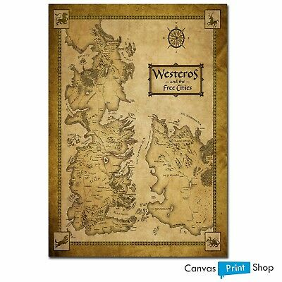 Game Of Thrones Houses Map Westeros WORLD MAP POSTER PRINT A4 A3 A2