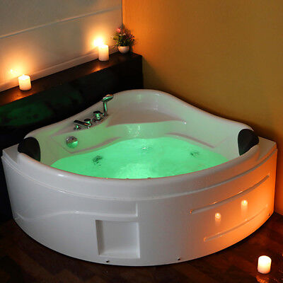 Whirlpool Massage Corner  2 Person  Double Bathtub With LED Lights System 6143