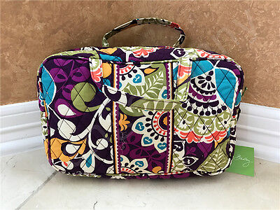 NWT Vera Bradley Grand Quilted cosmetic case bag in Plum Crazy New