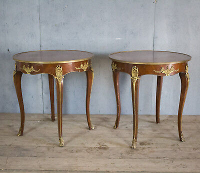 Lovely Pair X2 French Antique Side Tables With Bronze,  Bedside, Louis XV