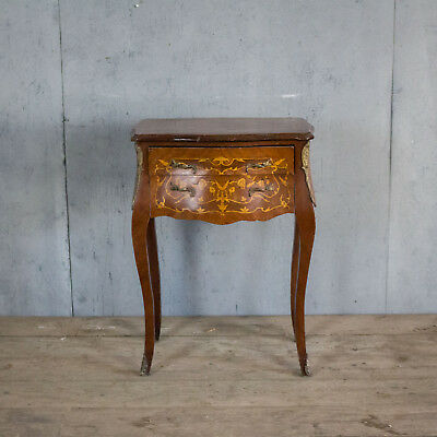 Lovely French Antique Side Table With Bronze,  Bedside, Louis XV, Rare, Inlaid