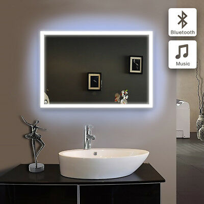 LED Rectangular Glass Bathroom Mirrors With Bluetooth Wall Hung IP44 500*700mm