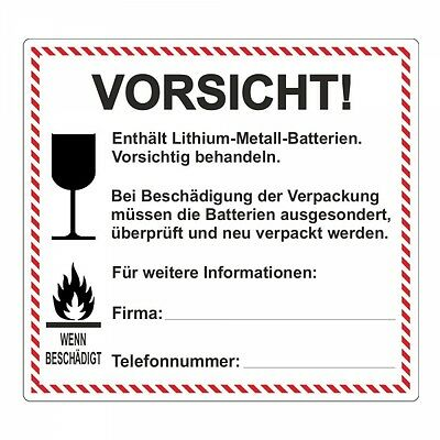 "Pegatina ""lithium-metall-batterien"" - 120 x 110mm - 100 piezas"