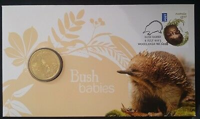 2013 Australia Bush Babies: The Echidna PNC with $1 UNC coin and $2.60 stamp
