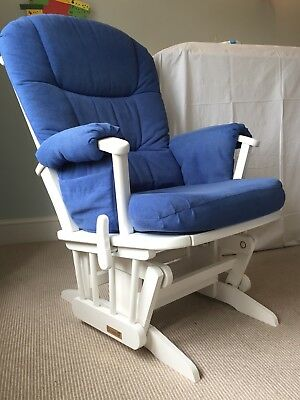 Dutailier Gliding Nursing Chair & Footstool. Classic White with blue upholstery.