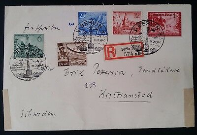 RARE 1940 Germany Rgstd Censor Cover ties 5 stamps w Berlin National Stamp Exhbn