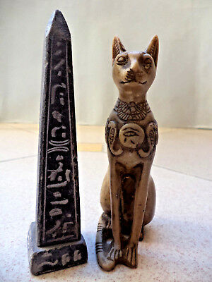 Ancient Egyptian Amulet Pharaonic Obelisk  and cat 300BC gift collect12cm4.6inch