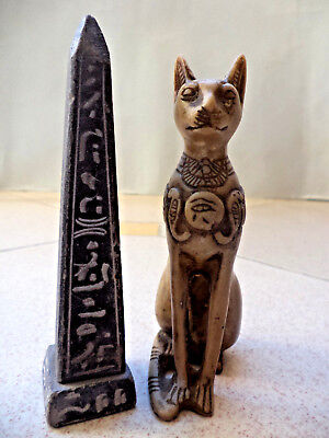Ancient Egyptian Pharaonic Amulet&Obelisk  and cat 300BC Christmas gift 4.6inch