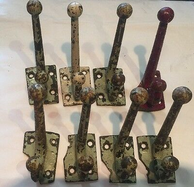 Set Of 8 Vintage Cast Metal Heavy Cast Hooks