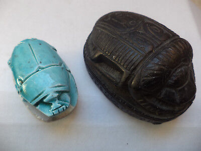 Egyptian Amulet Ancient Scarab the7.5cm is black stone the 5cm  is blue ceramic