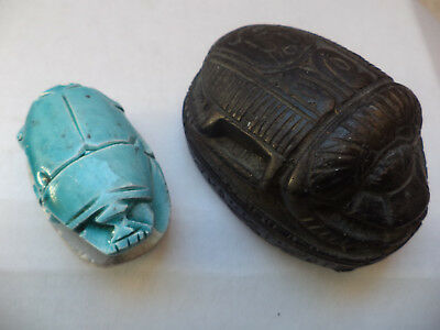 Egyptian  Scarab Amulet Ancient the7.5cm is black stone the 5cm  is blue ceramic