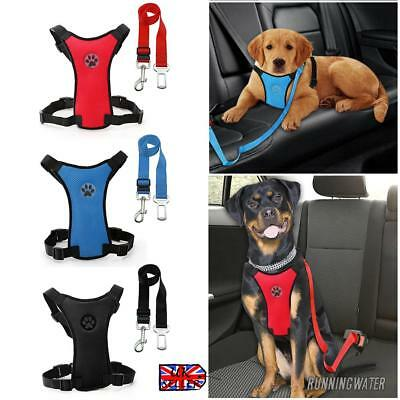 Air Mesh Puppy Pet Dog Car Harness and Seatbelt Clip Lead Safety for Travel UK