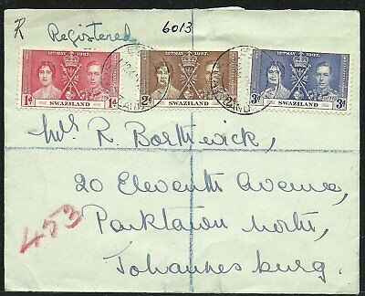 (990186) Swasiland 1937 reg.cover to Johannesburg franked with Coronationset