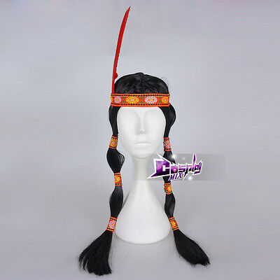 60cm Indian Long Black Plait Wig Feather Ladies Women Fancy Cosplay Wig