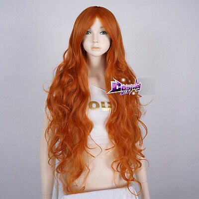 Fashion Women's 85CM Orange Long Curly Cosplay Party Heat Resistant Wig