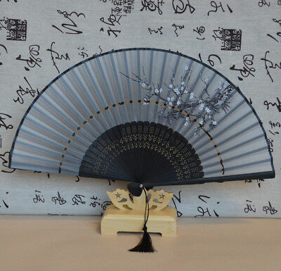 Chinese Japanese Folding Bamboo Silk Hand Held Dance Fan Collectible Xmas Gift
