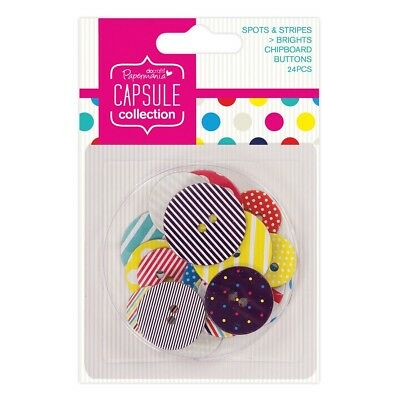 CHIPBOARD BUTTONS - Spots & Stripes Brights Capsule Collection - Docrafts