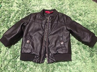 SPROUT Baby Faux Leather Biker Jacket Bomber Black Sz 0 RRP $69.95