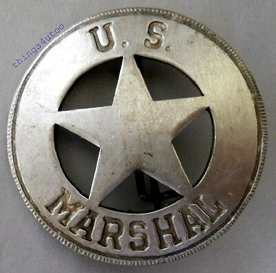 Old West US Marshal western silver lawman badge #BW20