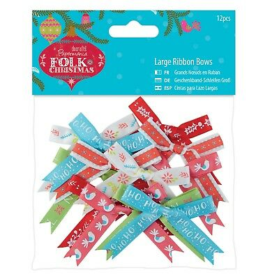LARGE RIBBON BOWS - Folk Christmas Collection - Docrafts