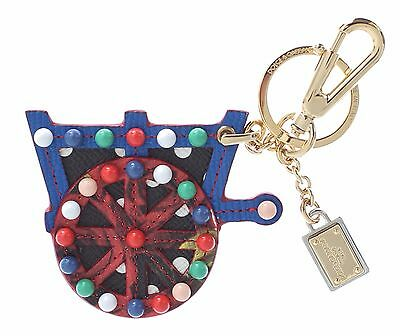 NEW $280 DOLCE & GABBANA Finder Chain Keyring Multicolor Leather Cart Wheel Gold