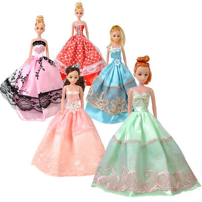 5Pcs Barbie Doll Best Princess Wedding Dresses Outfit Party Ball Clothes Gown