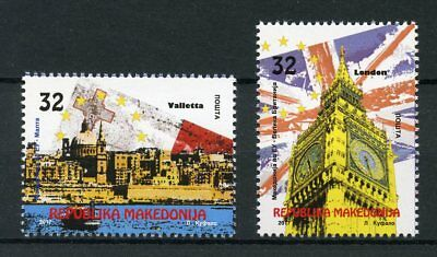 Macedonia 2017 MNH EU European Union Valletta Big Ben 2v Set Architecture Stamps