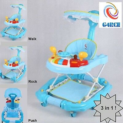 Walk Rock or Push 3 in 1 Baby Toddler Height Adjustable Musical Toy Walker