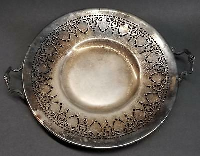 "Benedict Silverplate 10"" Handled Cookie/Cake Serving Plate Pierced/Reticulated"