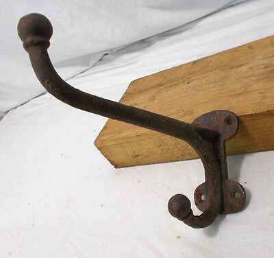 SOLID Antique Cast Iron Harness/Coat/Hat/Hall Tree Double Hook Vintage Hardware