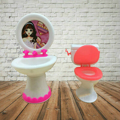 1 Closestool + Washbasin Toilet Wash Devices For Barbie Doll's House Furniture G