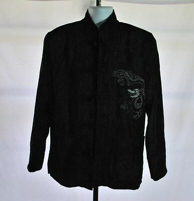 Chinese Mandarin Collar Kung Fu Embroidered Dragon Black Jacket Coat Men's Sz M