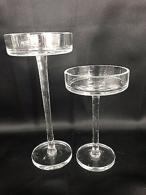 "Lot of 2 Krosno Poland Clear Glass Candle Holder Pillar Pair 8"" 6"" Decor"