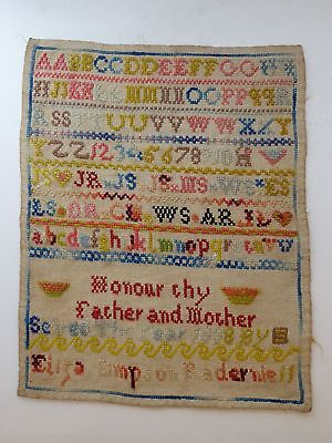 2 Scottish Needlework Sampler Samplers Sisters 1882 & 1888 Excellent Condition