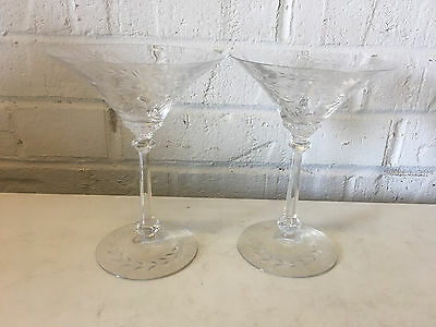 Vintage Antique Glass Pair of Compots w/ Etched Floral Decoration
