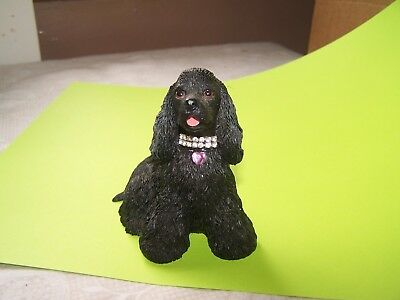 Lovely Black Cocker Spaniel with Jeweled collar Resin Figurine