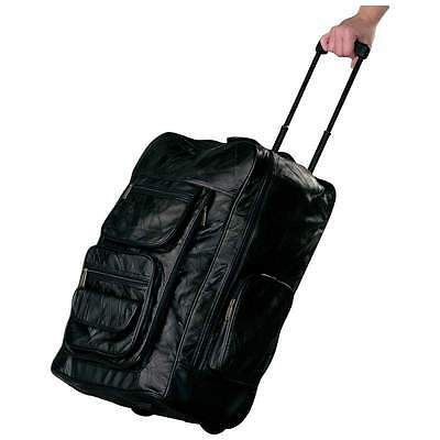 "Leather 23"" Trolley Backpack suitcase rolling carry on luggage BLACK"