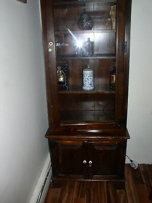 "Tall Wood Display ""gun/rifle/curio Cabinet"" Lights Up 2 Pieces Storage Cabinet"