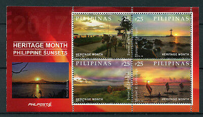 Philippines 2017 MNH Heritage Month Sunsets 4v M/S Lighthouses Boats Stamps