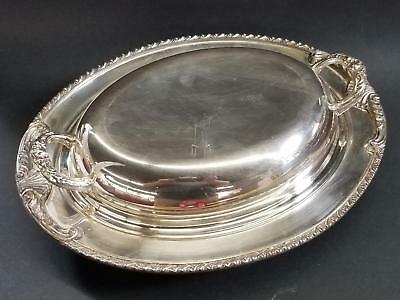 """Silverplate 12"""" Oval Entree Serving Dish Handled Lid Covered Sheffield/Sheridan"""