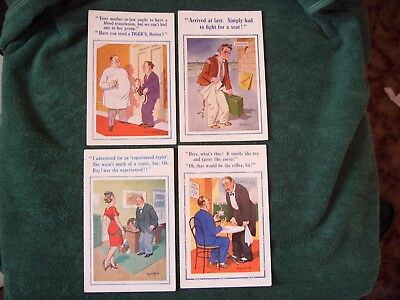 "4 Donald Mcgill Postcards ""typist"" ""tigers"" ""arrived"" ""coffee"" Unposted."