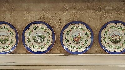 (4) French Country/Cottage-Salad Plates-Le Jardin-Suzanne Nicoll-Andrea by Sadek