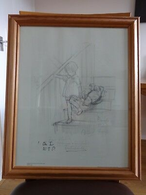 Winnie the Pooh and Christopher Robin framed pencil sketch print