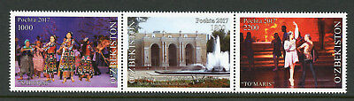 Uzbekistan 2017 MNH Navoi Theater Dance Ballet 3v Strip Architecture Stamps