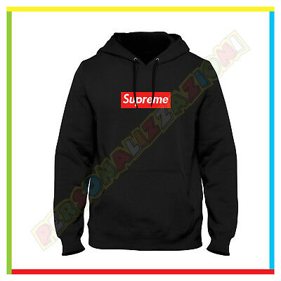 Felpa Scritta Supreme New York Nera Hoodie Cappuccio E Tasche Fruit Of The Loom